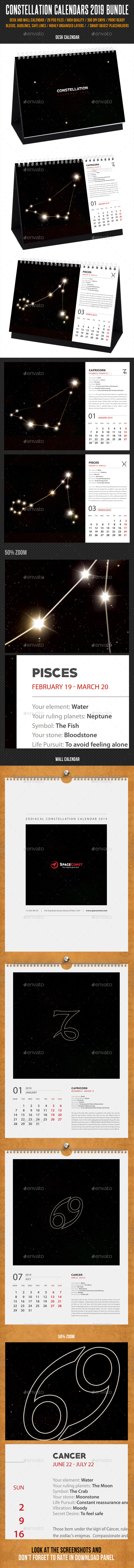 Constellation Calendars 2019 Bundle - Calendars Stationery