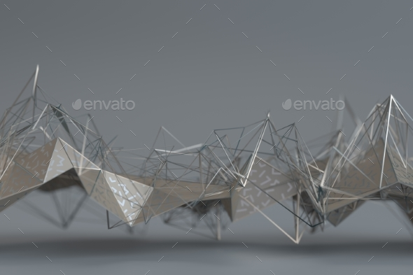Abstract 3D Rendering of Geometric Surface - 3D Backgrounds