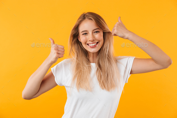 Portrait of a cheerful young blonde girl - Stock Photo - Images