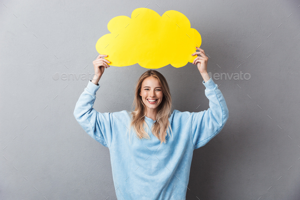 Portrait of a happy young blonde girl - Stock Photo - Images