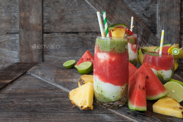 Colorful smoothie with fresh fruits and yogurt - Stock Photo - Images
