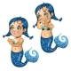 Cartoon Girl Mermaid Smiling and Crying Isolated