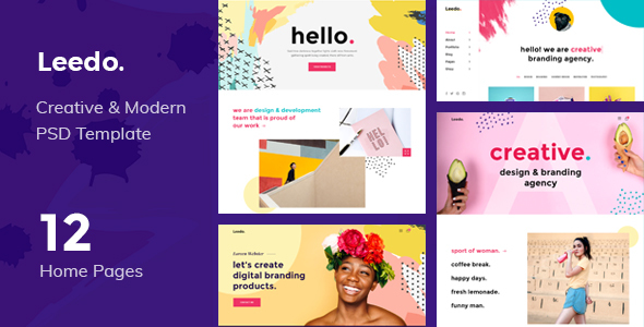 Leedo - Modern, Colorful & Creative Portfolio PSD Template