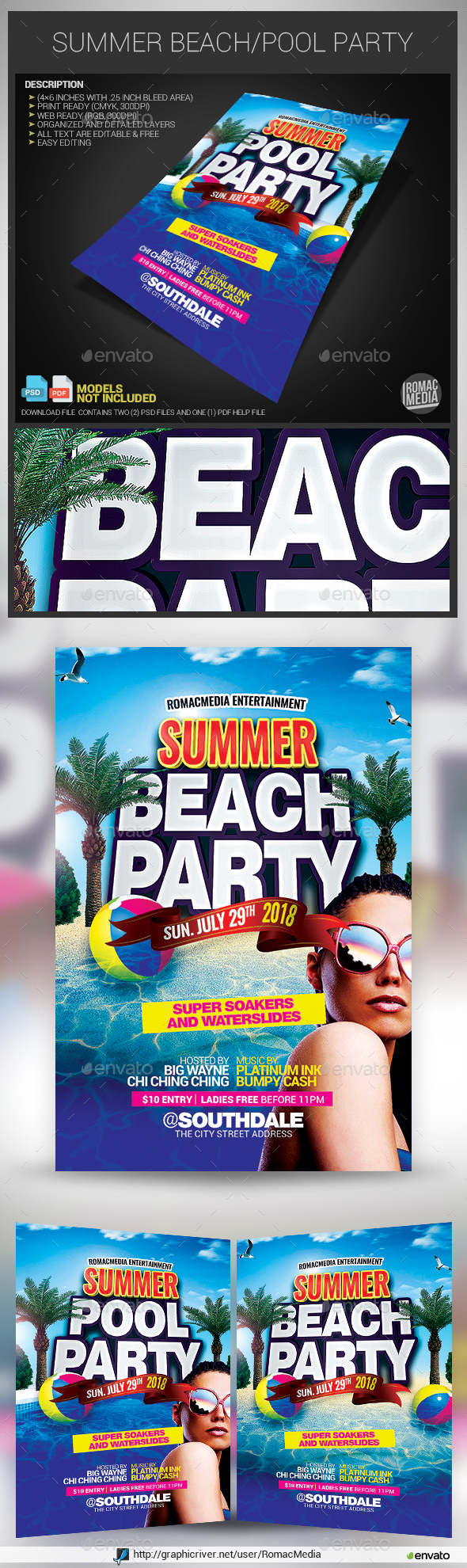 Summer Beach/Pool Flyer - Clubs & Parties Events