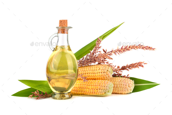 Corn oil with cobs - Stock Photo - Images