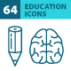 64 Education Icons - GraphicRiver Item for Sale