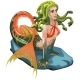 Mermaid with Hair of Snakes Isolated on a White - GraphicRiver Item for Sale