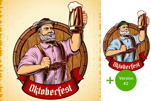 Vector Bavarian Oktoberfest Man Beer Glass Barrel Foam Lager Engraving - People Characters