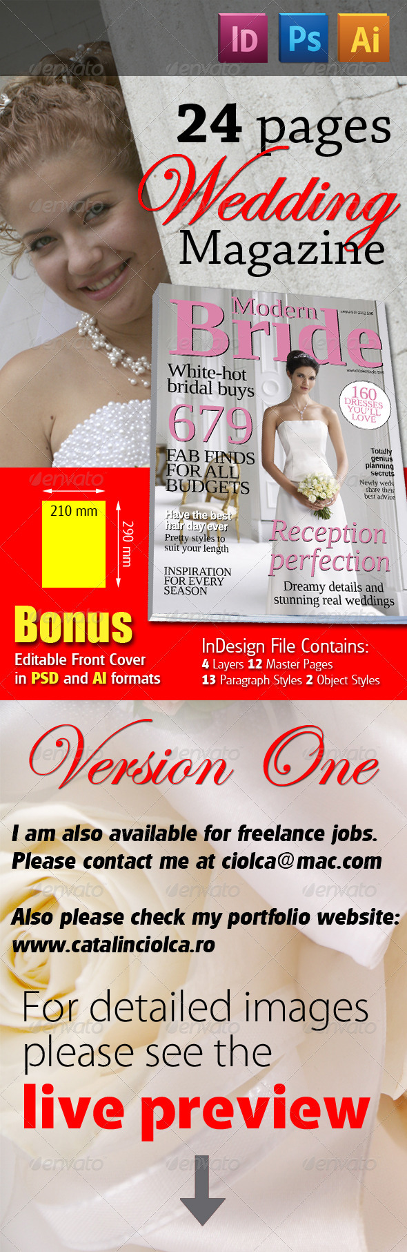 24 Pages Wedding Magazine Version One - Magazines Print Templates