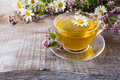 Cup of green herbal camomile tea and herbs - PhotoDune Item for Sale