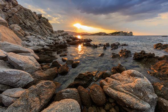sunrise in Ammouliani Island, Greece - Stock Photo - Images