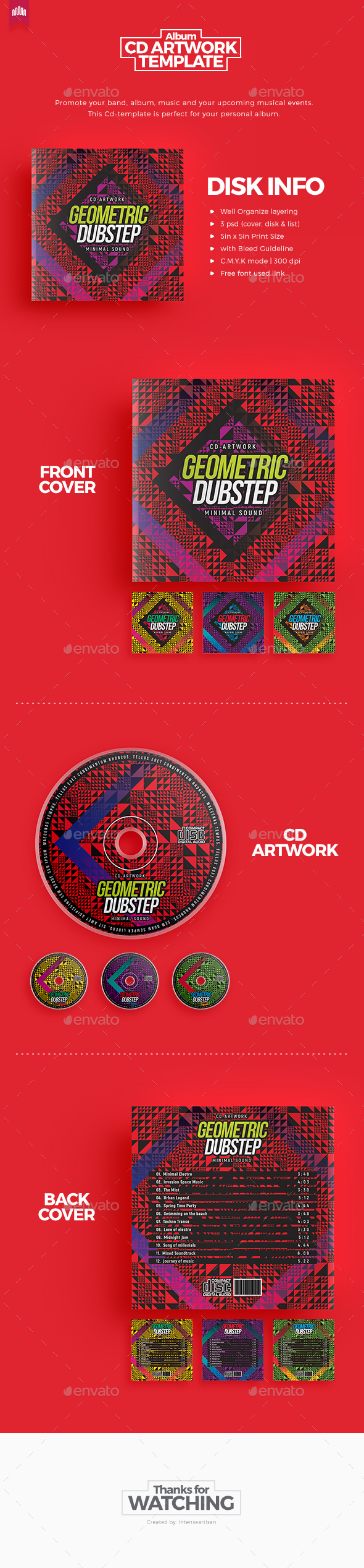 Geometric Dubstep - CD Artwork - CD & DVD Artwork Print Templates