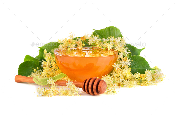 Fresh honey with linden flowers - Stock Photo - Images