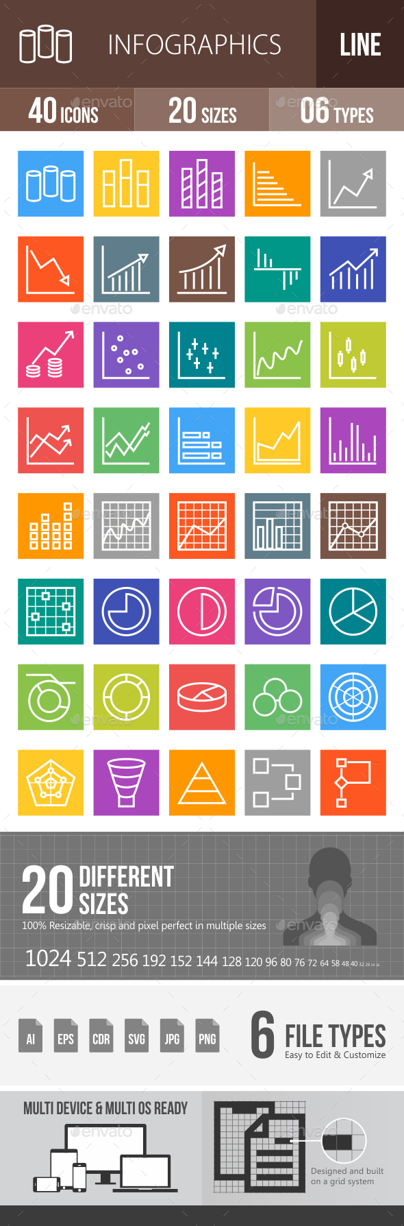 Infographics Line Multicolor Icons - Icons