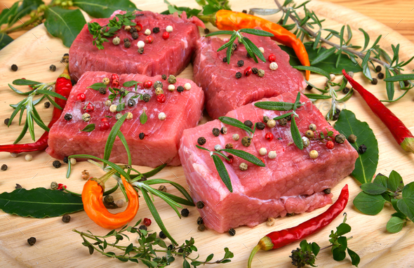 Fresh raw beef meat close up - Stock Photo - Images