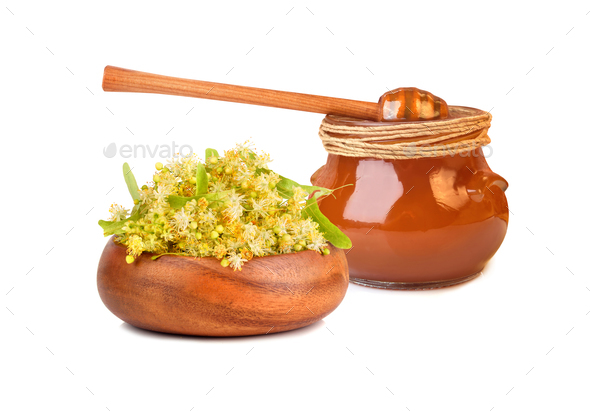 Honey with linden flowers - Stock Photo - Images