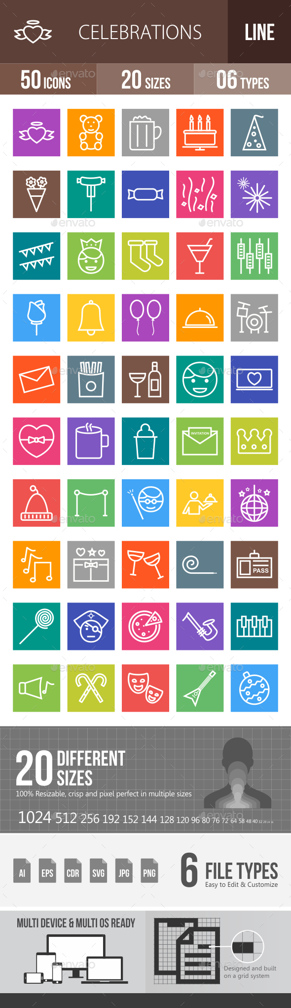 Celebrations Line Multicolor Icons - Icons