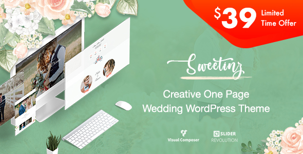 Image of Sweetinz - Creative OnePage Wedding WordPress Theme