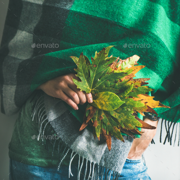 Woman in warm scarf or blanket with leaves, square crop - Stock Photo - Images