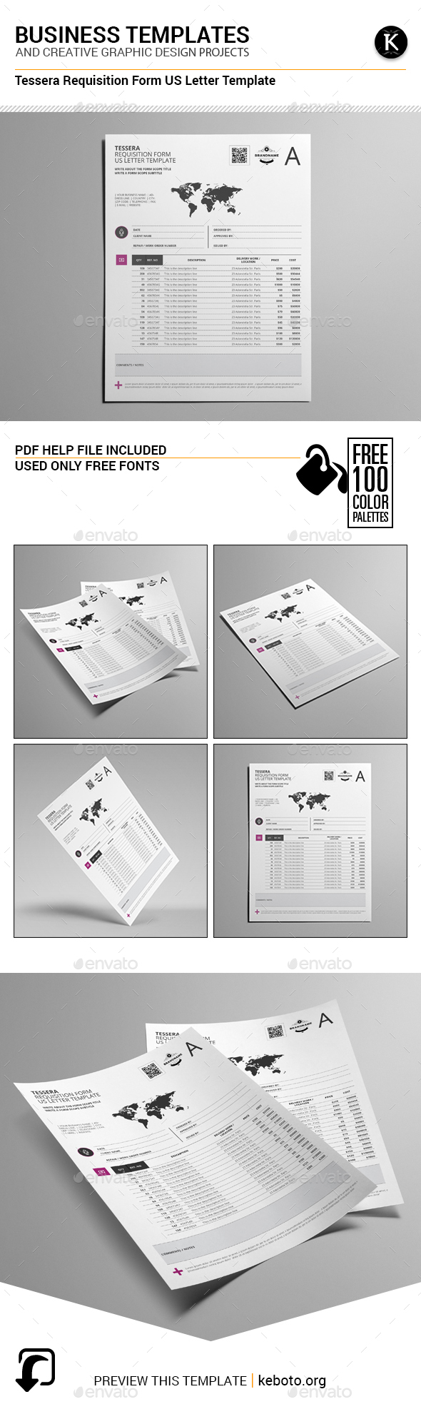 Tessera Requisition Form US Letter Template - Miscellaneous Print Templates
