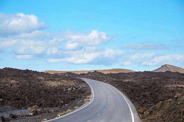 Road in Lanzarote Island, Canaries - Stock Photo - Images