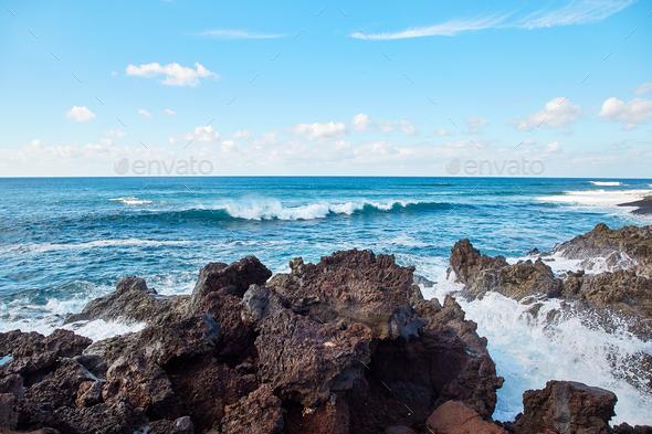 wave splashes of Atlantic ocean - Stock Photo - Images