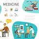 Flat Medical Treatment Concept