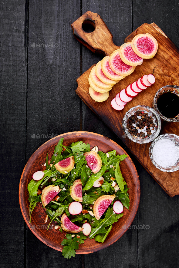 Ingredient and salad brown plate - Stock Photo - Images