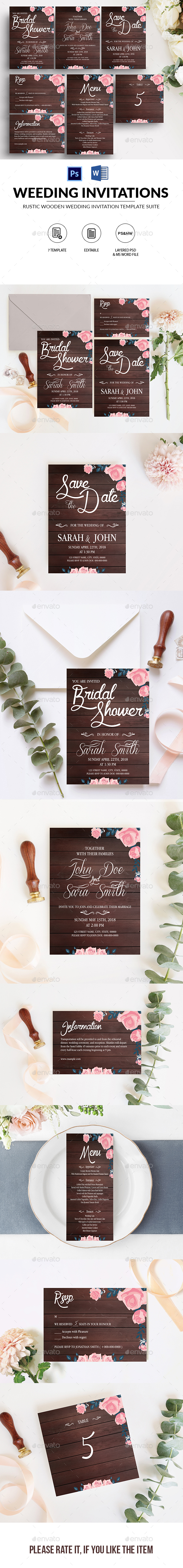 Rustic Wooden Wedding Template Suite - Weddings Cards & Invites