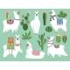 Set Illustrations of Animals. Llama and Alpaca