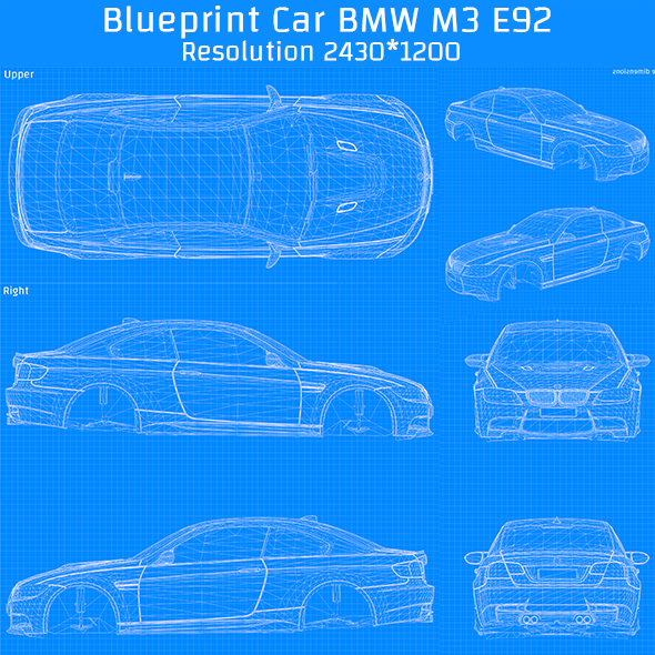 Blueprint Car - BMW M3 E92 - 3DOcean Item for Sale