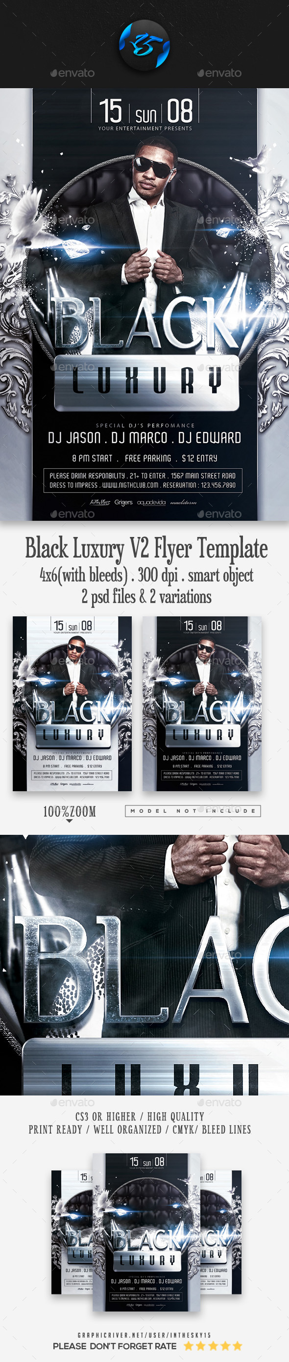 Black Luxury Flyer V2 Template - Events Flyers