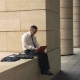 Man Working on Laptop Outside - VideoHive Item for Sale