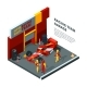 Race Car at Station. Isometric Composition Isolate