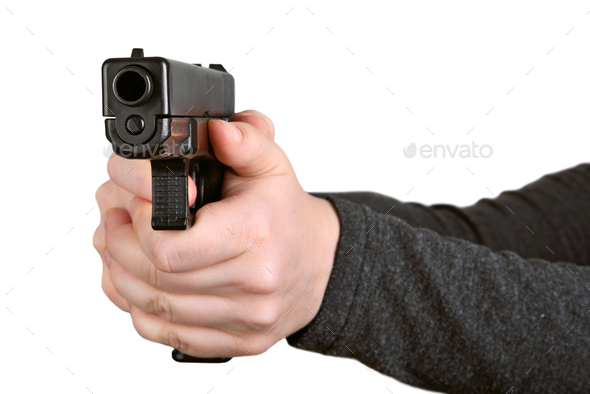 Gun in hands - Stock Photo - Images
