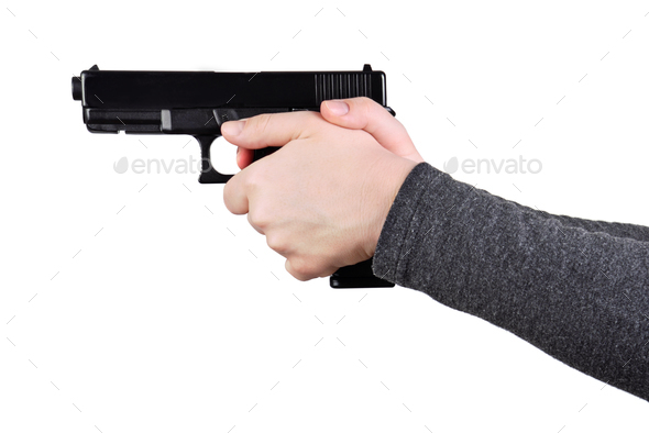 Close up of a gun in a hands - Stock Photo - Images