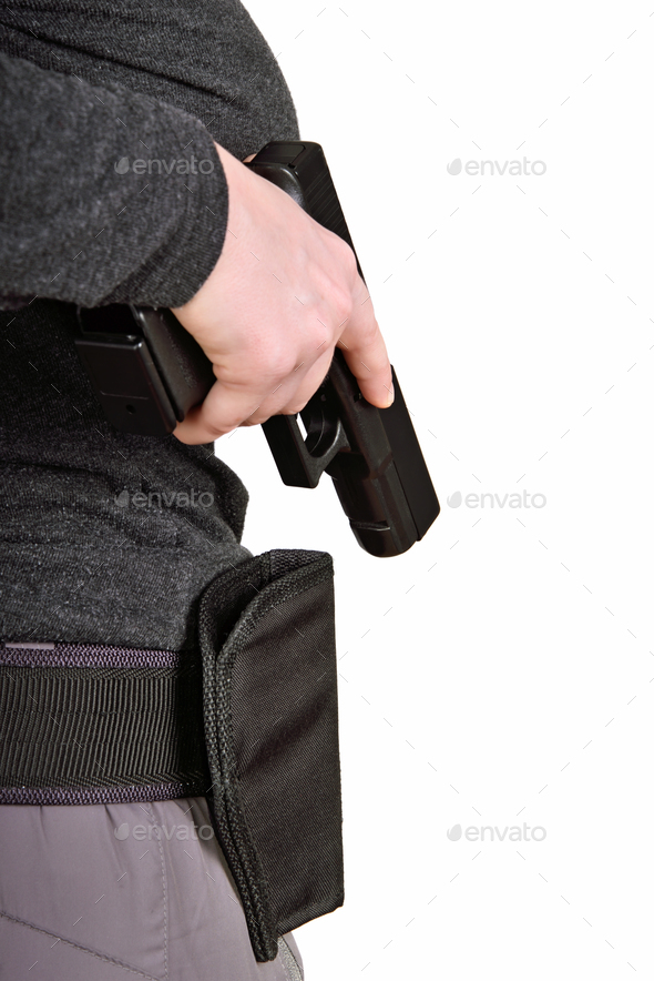 Gun pulled from the holster - Stock Photo - Images