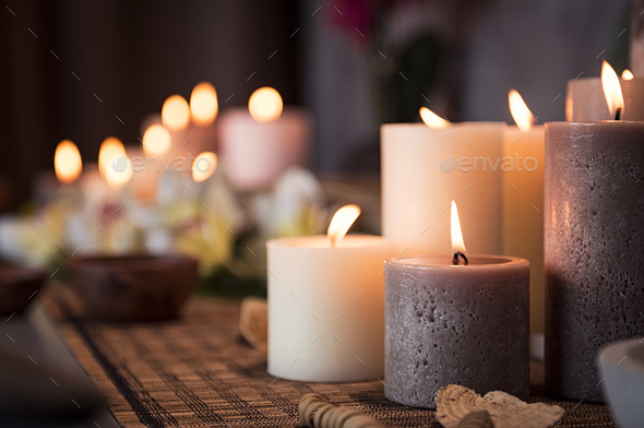 Spa setting with aromatic candles - Stock Photo - Images