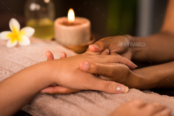 Manicure treatment at luxury spa - Stock Photo - Images