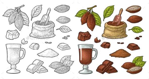Chocolate Piece, Bar and Shave - Food Objects