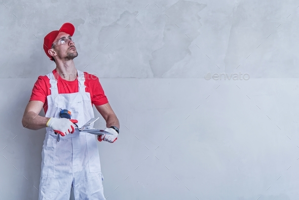 Contractor Wall Patching - Stock Photo - Images