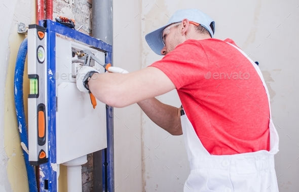 Sanitary System Installation - Stock Photo - Images