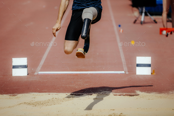 athlete jumper with limb loss leg - Stock Photo - Images