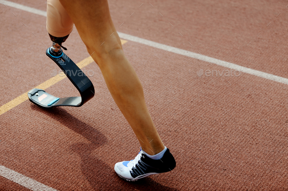 start line artificial leg limb women - Stock Photo - Images