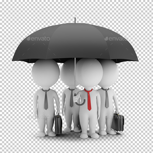 3D Small People - Manager with an Umbrella and His Team - Characters 3D Renders