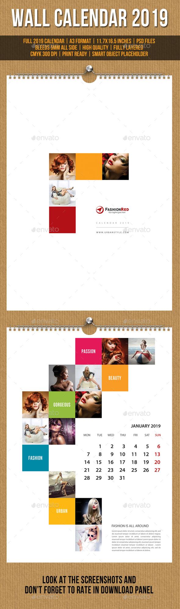 Wall Calendar A3 2019 V10 - Calendars Stationery