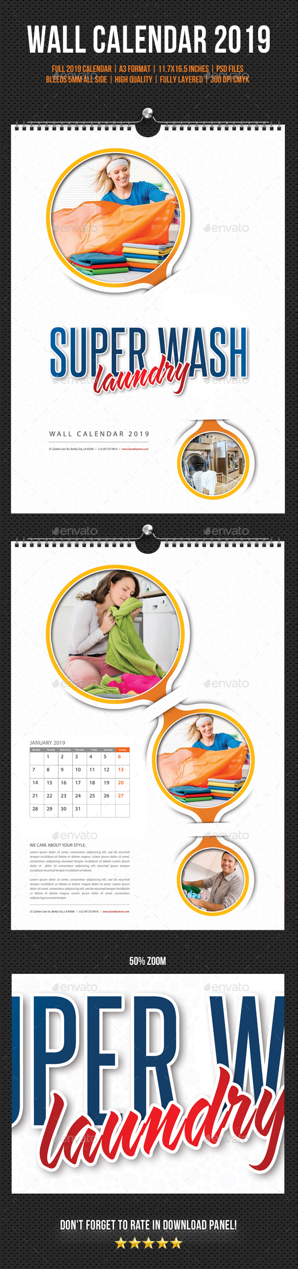Laundry Services Wall Calendar 2019 - Calendars Stationery