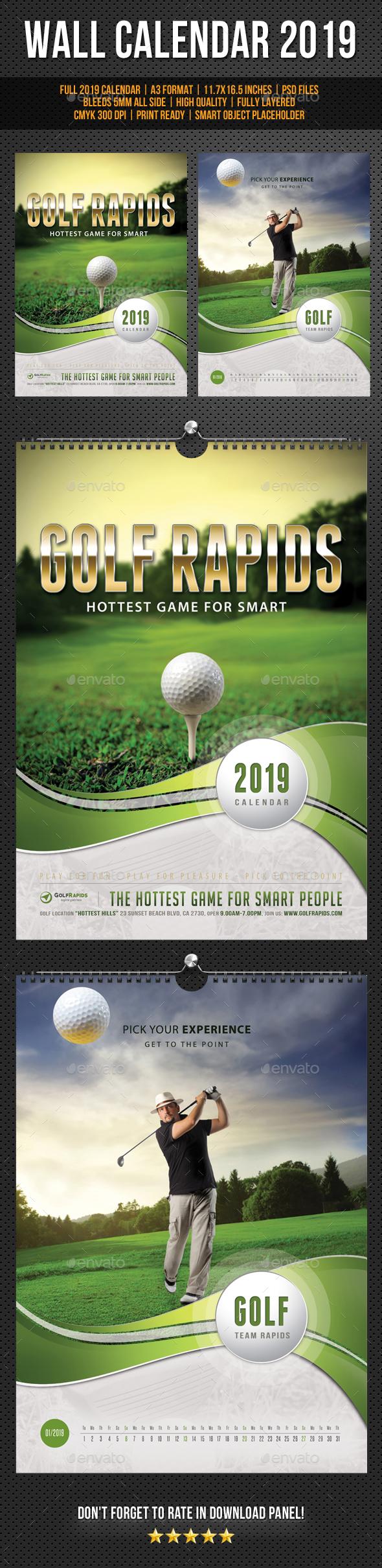 Golf Play Wall Calendar A3 2019 - Calendars Stationery