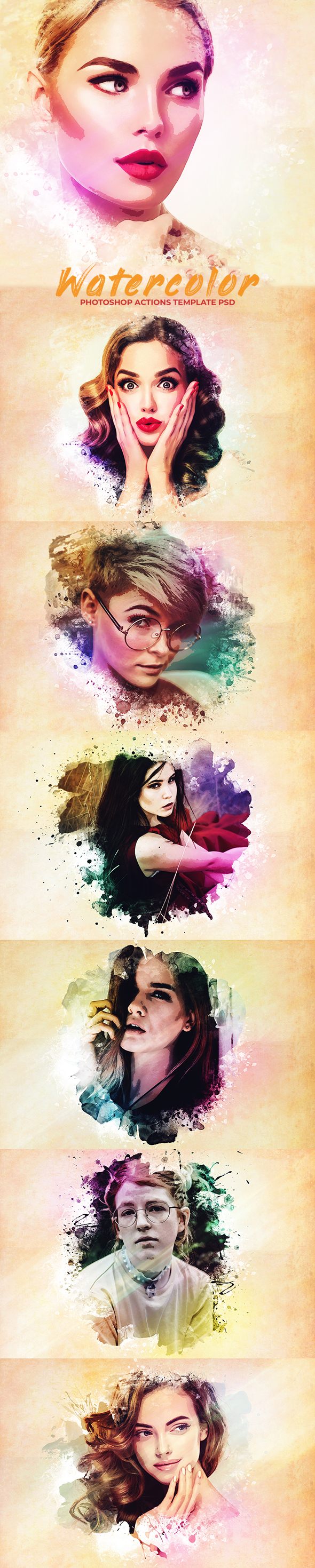 Watercolor Photoshop PSD Template - Photo Effects Actions