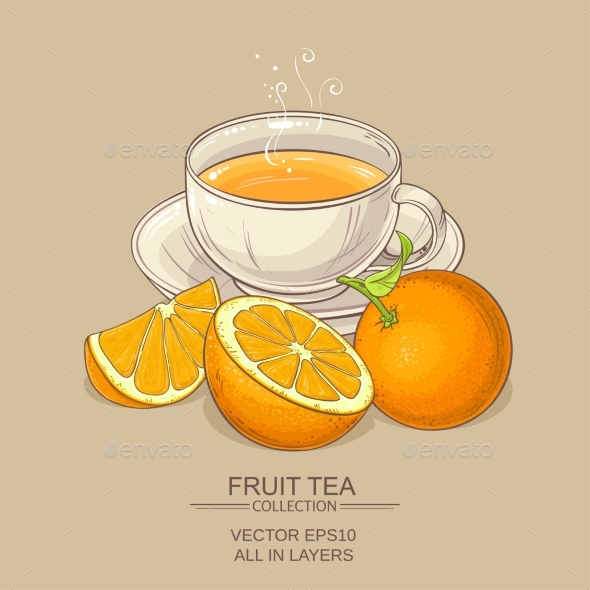 Cup of Orange Tea - Food Objects